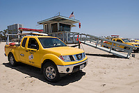 La County Lifeguard truck and shack on Santa Monica Beach.