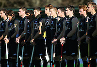 The Black Sticks line up during the international hockey match between the New Zealand Black Sticks and Malaysia at Fitzherbert Park, Palmerston North, New Zealand on Sunday, 9 August 2009. Photo: Dave Lintott / lintottphoto.co.nz