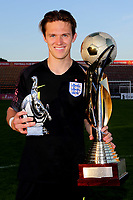 Freddie Woodman of Newcastle United and England U21's proudly celebrates with the Trophy and his own award, best goalkeeper of the Tournament during Mexico Under-21 vs England Under-21, Tournoi Maurice Revello Final Football at Stade Francis Turcan on 9th June 2018