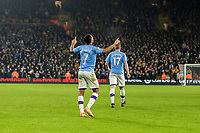 27th December 2019; Molineux Stadium, Wolverhampton, West Midlands, England; English Premier League, Wolverhampton Wanderers versus Manchester City; Raheem Sterling of Manchester City celebrates with his hands in the air  after scoring in the 50th minute 0-2