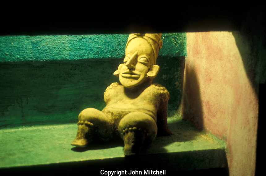 Recling pre-Hispanic figure from the state of Colima on display in the Governement Palace museum in the city of Colima, Mexico