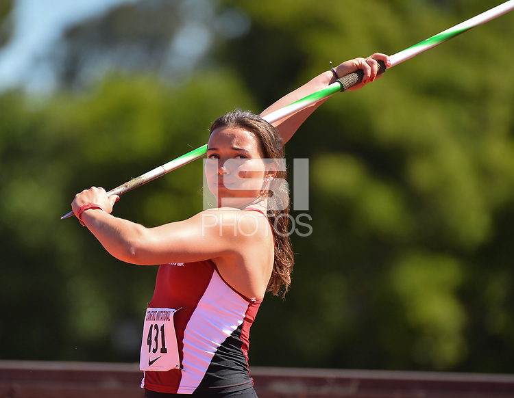 Stanford, Ca - Friday March 31, 2017: Mackenzie Little at the Stanford Invitational at Cobb Field.