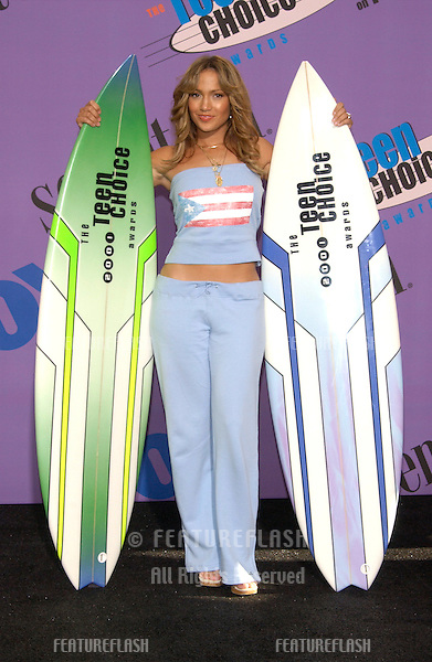 Actress/pop star JENNIFER LOPEZ at the 2001 Teen Choice Awards at the Universal Amphitheatre, Hollywood. She won the awards for Choice Dance Track and for Choice Female Hottie..12AUG2001.  © Paul Smith/Featureflash