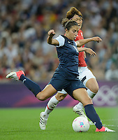 London, England - Thursday, August 9, 2012: The USA defeated Japan 2-1 to win the London 2012 Olympic gold medal at Wembley Stadium. Carli Lloyd scores her second goal. .