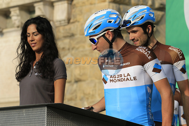 AG2R La Mondiale at sign on before the start of the 112th edition of Il Lombardia 2018, the final monument of the season running 241km from Bergamo to Como, Lombardy, Italy. 13th October 2018.<br /> Picture: Eoin Clarke | Cyclefile<br /> <br /> <br /> All photos usage must carry mandatory copyright credit (© Cyclefile | Eoin Clarke)