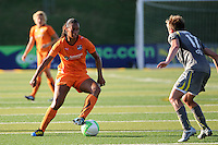 Rosana (11) of Sky Blue FC is marked by Joanna Lohman (17) of the Philadelphia Independence. The Philadelphia Independence defeated Sky Blue FC 2-1 during a Women's Professional Soccer (WPS) match at John A. Farrell Stadium in West Chester, PA, on June 6, 2010.
