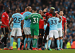 Paul Pogba of Manchester United in the thick of an exchange of words during the premier league match at the Etihad Stadium, Manchester. Picture date 7th April 2018. Picture credit should read: Simon Bellis/Sportimage