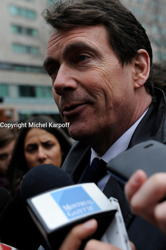 Pierre-Karl Peladeau attend Claire Kirkland-Casgrain's  funeral, April2nd, 2016.<br /> <br /> <br /> Photo : Michel Karpoff <br /> - Agence Quebec Presse