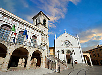 Town Hall, the church of St. Benedict, before the 2106 earthquake, and the birthplace of St. Benedict, Piazza San Benedetto, Norcia, Umbria, Italy