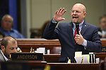 Nevada Assemblyman Ira Hansen, R-Sparks, speaks against Gov. Brian Sandoval's $1.1 billion tax plan during a passionate two-hour Assembly floor debate at the Legislative Building in Carson City, Nev., on Sunday, May 31, 2015. The Assembly approved the bill 30-10. <br /> Photo by Cathleen Allison