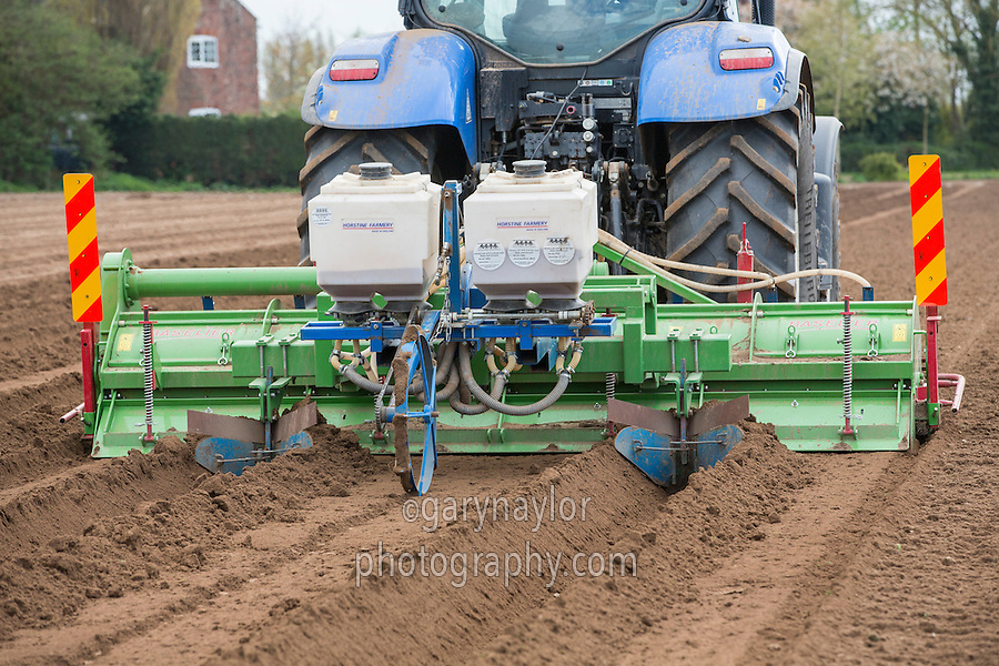 Potato seed bed cultivations and incorporation of Nemathorin using a Baselier rotary cultivator and Horstine Farmery applicator - Lincolnshire, April