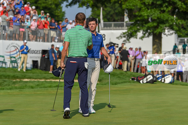 Rory McIlroy (NIR) congratulates Justin Thomas (USA) for winning the 2018 World Golf Championships - Bridgestone Invitational, at the Firestone Country Club, Akron, Ohio. 8/5/2018.<br /> Picture: Golffile | Ken Murray<br /> <br /> <br /> All photo usage must carry mandatory copyright credit (© Golffile | Ken Murray)