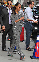NEW YORK, NY - JULY 18: Zoe Saldana spotted leaving 'The Late Show with Stephen Colbert' where she promoted the movie 'Star Trek Beyond'  in New York, New York on July 18, 2016.  Photo Credit: Rainmaker Photo/MediaPunch