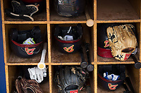 Equipment sits in the bat rack in the Danville Braves dugout prior to the game against the Princeton Rays at American Legion Post 325 Field on June 25, 2017 in Danville, Virginia.  The Braves walked-off the Rays 7-6 in 11 innings.  (Brian Westerholt/Four Seam Images)