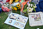 AUG. 12, 2012 - OCEANSIDE, NEW YORK U.S. - Family and friends of Lance Corporal Greg Buckley, Jr - the 21-year-old Marine from Long Island killed in Afghanistan 3 days earlier - placed these mementos - such as his high school yearbook and Newsday newspaper article about his death - on front lawn of his family's home on Long Island.