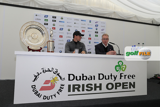 Rory McIlroy (NIR) and Keith Pelley (European Tour CEO) during the during his interview at the Dubai Duty Free Irish Open, The K Club, Straffan, Co. Kildare<br /> Picture: Golffile | Fran Caffrey<br /> <br /> <br /> All photo usage must carry mandatory copyright credit (&copy; Golffile | Fran Caffrey)