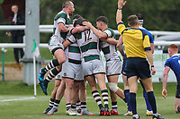 Joe Munro of Ealing Trailfinders celebrates with team mates after he scores a try during the British & Irish Cup Final match between Ealing Trailfinders and Leinster Rugby at Castle Bar, West Ealing, England  on 12 May 2018. Photo by David Horn / PRiME Media Images.