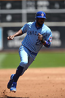 OAKLAND, CA - AUGUST 6:  Dexter Fowler #24 of the Chicago Cubs runs the bases against the Oakland Athletics during the game at the Oakland Coliseum on Saturday, August 6, 2016 in Oakland, California. Photo by Brad Mangin