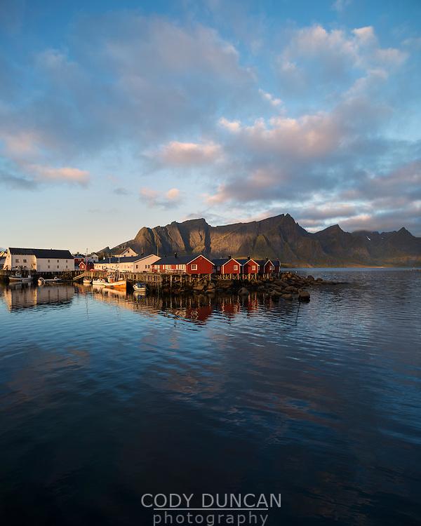 Traditional Rorbu fishermen cabins at Hamnøy, Lofoten islands, Norway
