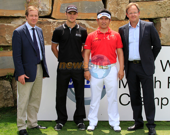 L-R George O'Grady, European Tour, Martin Kaymer (GER), Y.E. Yang (KOR) and Per Ericsson, Volvo, on the 1st tee during Day 1 of the Volvo World Match Play Championship in Finca Cortesin, Casares, Spain, 19th May 2011. (Photo Eoin Clarke/Golffile 2011)