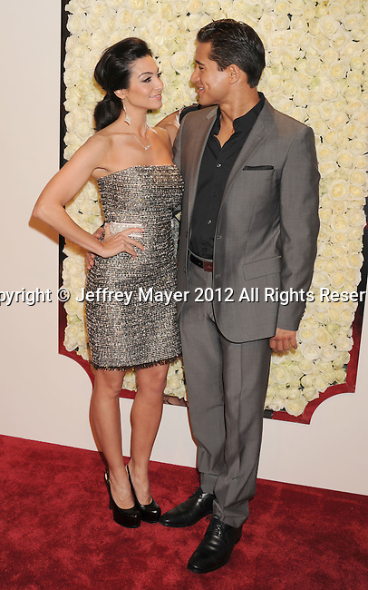 LOS ANGELES, CA - FEBRUARY 23: Mario Lopez and Courtney Mazza attend the QVC's'Buzz On The Red Carpet' Cocktail Party at Four Seasons Hotel Los Angeles at Beverly Hills on February 23, 2012 in Beverly Hills, California.
