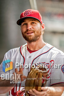 8 July 2017: Washington Nationals second baseman Daniel Murphy awaits the start of play prior to a game against the Atlanta Braves at Nationals Park in Washington, DC. The Braves shut out the Nationals 13-0 to take the third game of their 4-game series. Mandatory Credit: Ed Wolfstein Photo *** RAW (NEF) Image File Available ***
