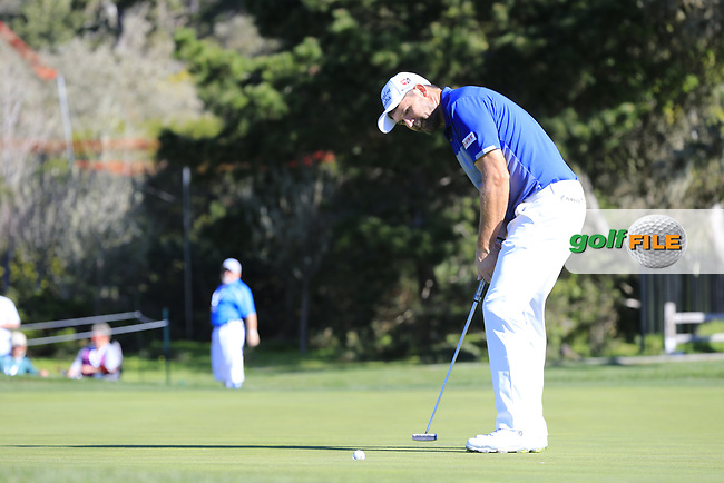 Padraig Harrington (IRL) putts on the 12th green at Pebble Beach course during Friday's Round 2 of the 2018 AT&amp;T Pebble Beach Pro-Am, held over 3 courses Pebble Beach, Spyglass Hill and Monterey, California, USA. 9th February 2018.<br /> Picture: Eoin Clarke | Golffile<br /> <br /> <br /> All photos usage must carry mandatory copyright credit (&copy; Golffile | Eoin Clarke)