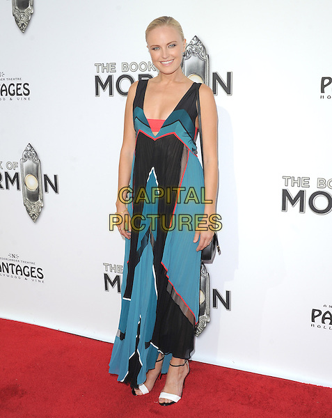 "Malin Akerman.""The Book of Mormon"" Hollywood Opening night Held At The Pantages theatre, Hollywood, California, USA..September 12th, 2012.full length black blue green teal maxi dress sleeveless red white open toe sandals shoes .CAP/DVS.©DVS/Capital Pictures."