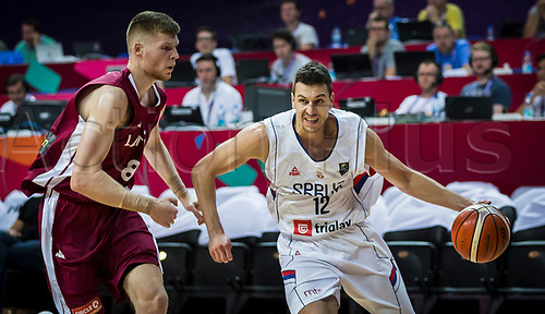 1st September 2017, Fenerbahce Arena, Istanbul, Turkey; FIBA Eurobasket Group D; Serbia versus Latvia; Center Ognjen Kuzmic #32 of Serbia drives to the basket during the match