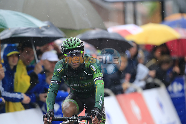 Europcar Team rider crosses the finish line in Arenberg at the end of Stage 5 of the 2014 Tour de France running 155.5km from Ypres to Arenberg. 9th July 2014.<br /> Picture: Eoin Clarke www.newsfile.ie