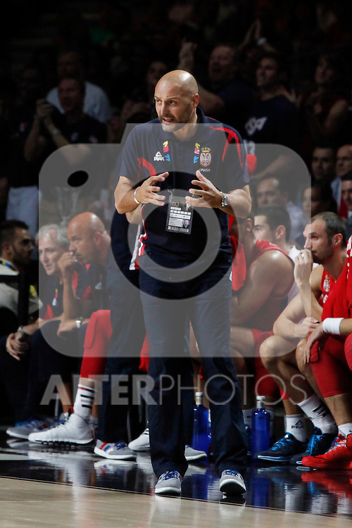 Serbia´s coach Sasha Djordjevic during FIBA Basketball World Cup Spain 2014 final match between United States and Serbia at `Palacio de los deportes´ stadium in Madrid, Spain. September 14, 2014. (ALTERPHOTOSVictor Blanco)
