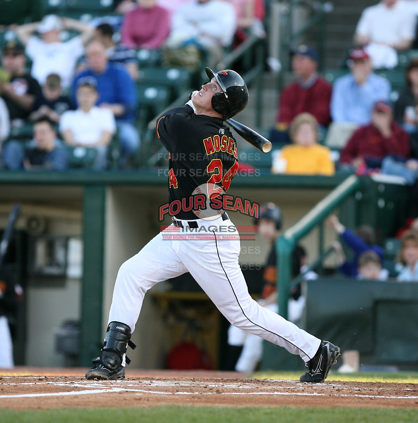2007:  Matt Moses of the Rochester Red Wings in a game at Frontier Field during an International League baseball game. Photo By Mike Janes/Four Seam Images