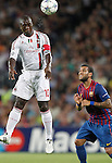 Barcelona's Daniel Alves and AC Milan's Clarence Seedorf during Champions League match on september 13th 2011...Photo: Cesar Cebolla / ALFAQUI