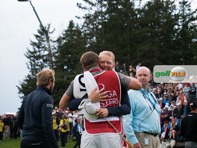 Sebastian Soderberg (SWE) celebrates victory on the 18th green during final round at the Omega European Masters, Golf Club Crans-sur-Sierre, Crans-Montana, Valais, Switzerland. 01/09/19.<br /> Picture Stefano DiMaria / Golffile.ie<br /> <br /> All photo usage must carry mandatory copyright credit (© Golffile   Stefano DiMaria)