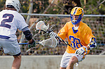 Los Angeles, CA 02-26-17 - Casey Mix (UCSB #38) and Jon Edwards (Loyola Marymount #2) in action during the MCLA conference game between LMU and UC Santa Barbara.  Santa Barbara defeated LMU 15-0.
