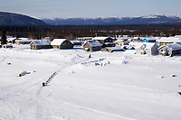 Saturday March 10, 2012  Aerial view of Rick Swenson leaving the Yukon River and approaching the Nulato checkpoint.  Iditarod 2012.