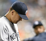 Masahiro Tanaka (Yankees), SEPTEMBER 18, 2015 - MLB : New York Yankees starter Masahiro Tanaka reacts against the New York Mets in the third inning of a baseball game in New York, United States. (Photo by AFLO)