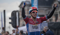 Dylan Groenewegen (NED/LottoNL-Jumbo) wins the bunch sprint of the Tour de l'Eurom&eacute;tropole 2016 (1.1)<br /> <br /> Poperinge &rsaquo; Tournai (196km)/ Belgium