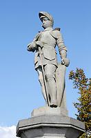 Barneveld. Standbeeld voor Jan van Schaffelaar. Jan van Schaffelaar was een Kabeljauwse ruiteraanvoerder die volgens de overlevering aan zijn einde kwam nadat hij op 16 juli 1482 van de door Hoeken belegerde toren van Barneveld sprong