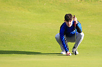Adam Doherty (Carton House) on the 12th green during Round 3 of the Ulster Boys Championship at Portrush Golf Club, Portrush, Co. Antrim on the Valley course on Thursday 1st Nov 2018.<br /> Picture:  Thos Caffrey / www.golffile.ie<br /> <br /> All photo usage must carry mandatory copyright credit (&copy; Golffile | Thos Caffrey)