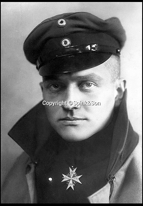 BNPS.co.uk (01202 558833)<br /> Pic :  Spink&Son/BNPS<br /> <br /> Manfred von Richthofen, the Red Baron<br /> <br /> The medals of the Red Baron's final victim, shot down the evening before the German Ace finally met his own end...have sold for £18,000 at auction.<br /> <br /> Major Richard 'Dick' Raymond-Barker, who commanded No 3 Squadron, Royal Flying Corps, was the 79th victim of Baron Manfred von Richthofen.<br /> <br /> He was flying in a Sopwith Camel when he was killed in a dogfight with the German ace on April 20, 1918, aged just 23.<br /> <br /> The Red Baron himself was shot down at 11 am the following day over the Somme.