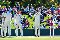 Joe Root of England calls for a umpire review during Day 2 of the Second International Cricket Test match, New Zealand V England, Hagley Oval, Christchurch, New Zealand, 31th March 2018.Copyright photo: John Davidson / www.photosport.nz