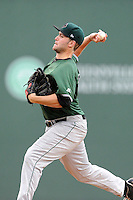 Pitcher Chris Johnson (33) of the Augusta GreenJackets delivers a pitch in a game against the Greenville Drive on Thursday, June 11, 2015, at Fluor Field at the West End in Greenville, South Carolina. Greenville won, 10-1. (Tom Priddy/Four Seam Images)