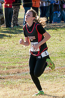 Alyssa Lunsford of Chaffee nears the finish line of the Class 1 race and went on to take 54th at the 2015 MSHSAA State Cross Country Championships.