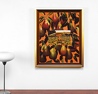 "Preston: Pears and Garden, Digital Print, Image Dims. 32"" x 25"", Framed Dims. 35.25"" x 28"""