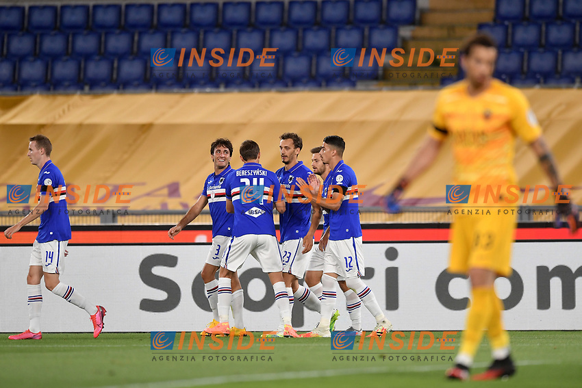 Manolo Gabbiadini of Sampdoria celebrates after scoring a goal with Fabio Depaoli, Tommaso Augello and Bartosz Bereszynski<br /> during the Serie A football match between AS Roma and UC Sampdoria at Olimpico stadium in Rome ( Italy ), June 24th, 2020. Play resumes behind closed doors following the outbreak of the coronavirus disease. <br /> Photo Andrea Staccioli / Insidefoto
