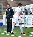 Ayr Utd Manager Mark Roberts doesn't look too happy as Darren Brownlie gets his second yellow and is sent off after pulling down Forfar's Chris Templeman for Forfar's penalty.