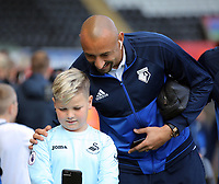 Heurelho Gomes of Watford has a selfie taken prior to the game during the Premier League match between Swansea City and Watford at The Liberty Stadium, Swansea, Wales, UK. Saturday 23 September 2017