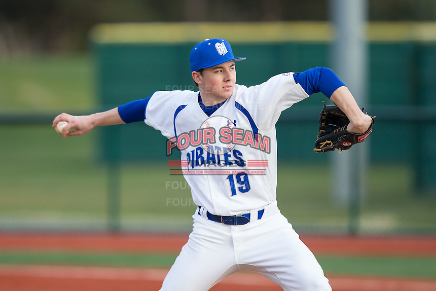 Seton Hall Pirates starting pitcher Zach Prendergast (19) in action against the Cornell Big Red at The Ripken Experience on February 27, 2015 in Myrtle Beach, South Carolina.  The Pirates defeated the Big Red 3-0.  (Brian Westerholt/Four Seam Images)