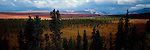 A vast expanse of untouched tundra sweeps between mountain ranges in Denali National Park, Alaska.
